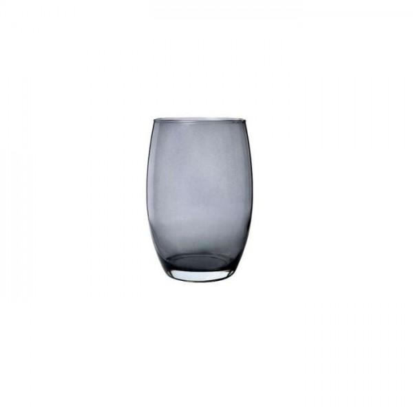 Glas Vase bauchig H=20cm D=14cm grau transparent, rauchgrau