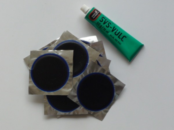 Schlauchflicken SF7 Ø 75mm 30 Stück + Tip Top SVS-Vulkanisierfl. 50g