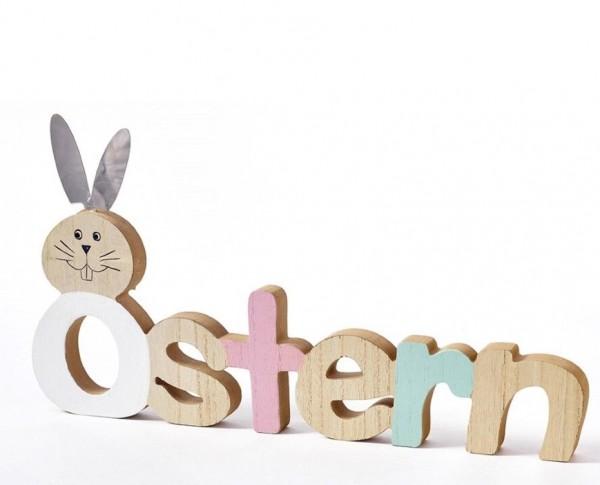 Holz Schild Schriftzug Ostern bunt 40x22cm
