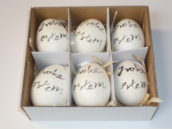 "6x Eier ""Frohe Ostern"" echt H=6 cm creme"