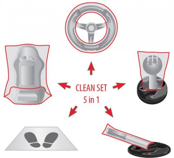 50x Innenraum Einweg-Schutzset, Clean Set 5 in 1