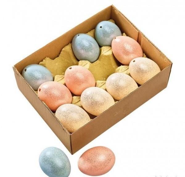 12x Hühnerei Farbmix/Glitter Sortiert echt H=6 cm grün-creme-rosa