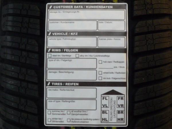 Reifen-Einlagerungsetikett selbstklebend 100 Stück