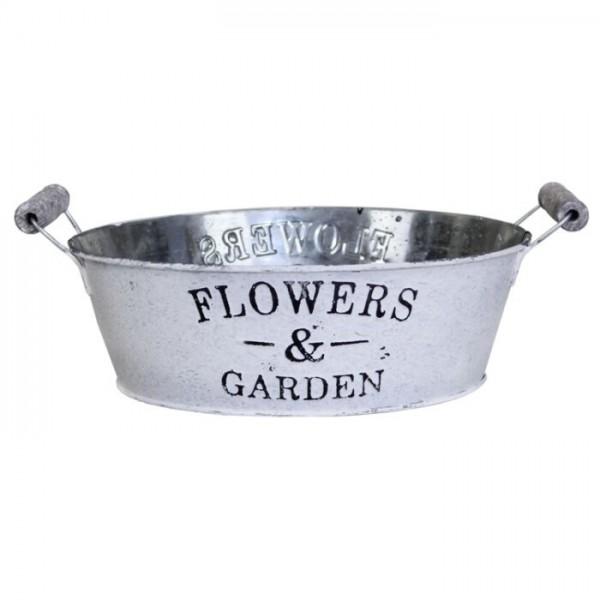 Zink Jardiniere Flowers & Garden, weiß gewaschen, rund Ø 24cm