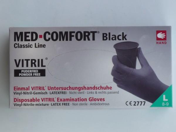 100x Einweghandschuhe MED-Comfort schwarz Gr. L (8-9)