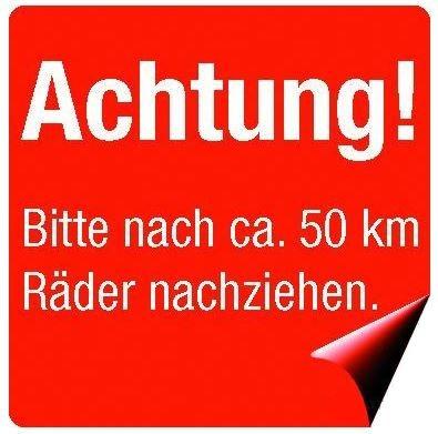 """Aufkleber """"Räder nachziehen"""" 200 Stück"""