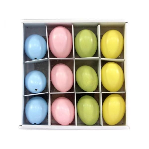 12x Hühnerei Pastell Sortiert, echt H=6 cm blau-pink-grün-gelb