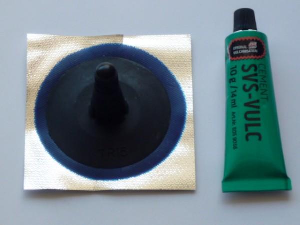 Ventilflicken VF TR15, Gummifuß Ø 66mm 1 Stück + Tip Top Vulkanisierfl. 10g