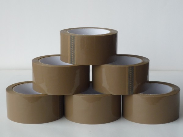 6x Packband, Paket-Klebeband braun, leise abrollend