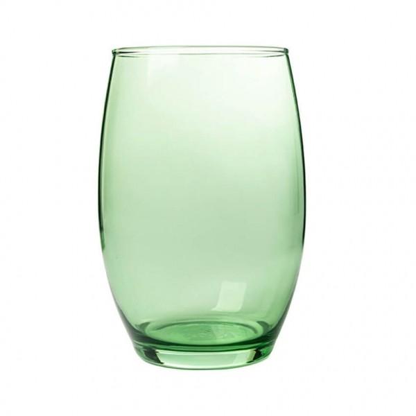 Glas Vase bauchig H=19,5 cm D=14 cm hellgrün transparent