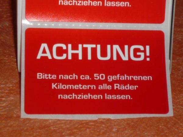 """Aufkleber """"Räder nachziehen"""" 250 Stück"""