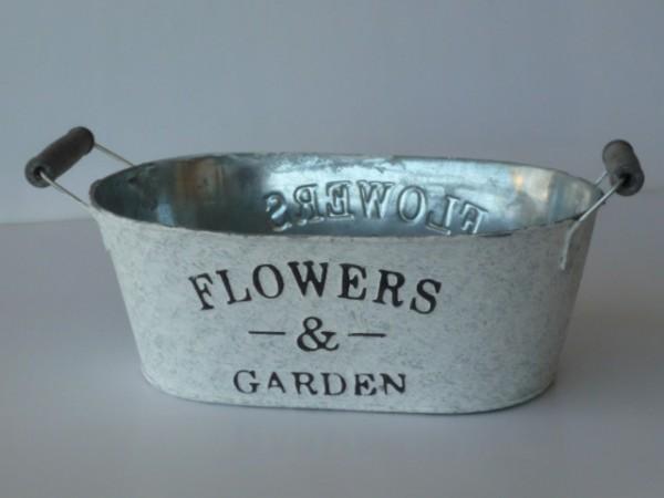 Zink Jardiniere Flowers & Garden, weiß gewaschen, oval 18x11,5cm