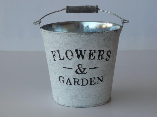 Zink Übertopf Flowers & Garden, weiß gewaschen, rund Ø 10cm
