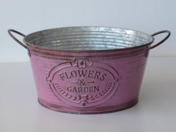 Zink-Schale Flowers & Garden pink, Pflanzgefäß klein