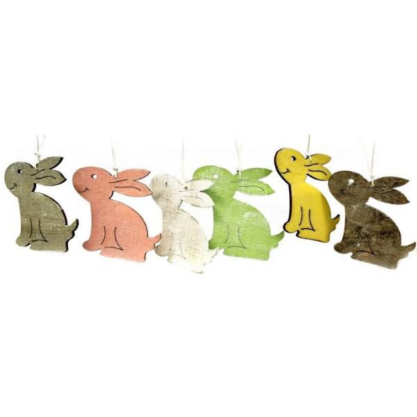 12x Holz Hase Sortiert H=8 cm zum Hängen, farbig
