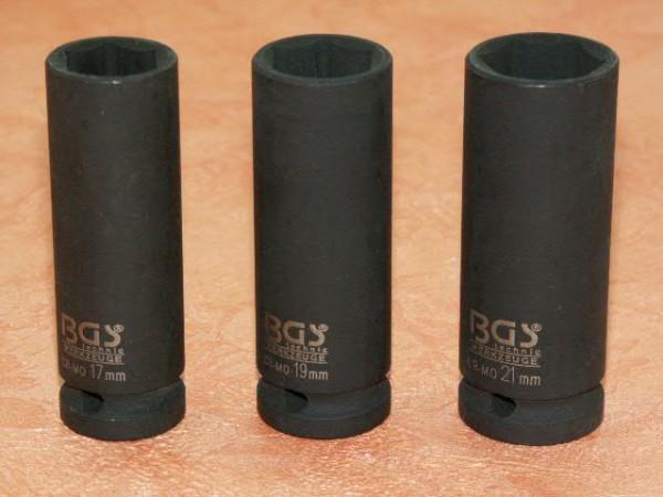 "Kraft-Steckschlüssel-Satz 17, 19, 21 mm 1/2"""